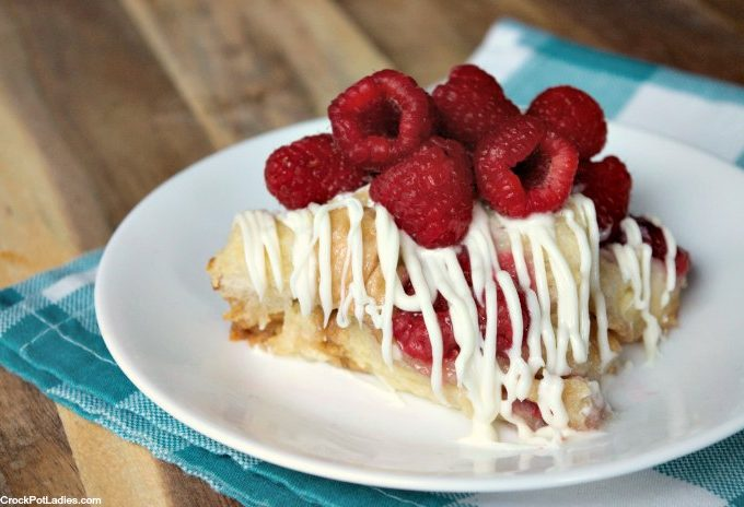 Crock-Pot White Chocolate Raspberry Bread Pudding